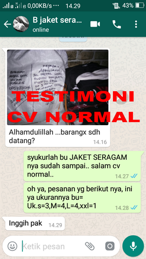 TESTIMONI PEMBELI JAKET SERAGAM CV NORMAL