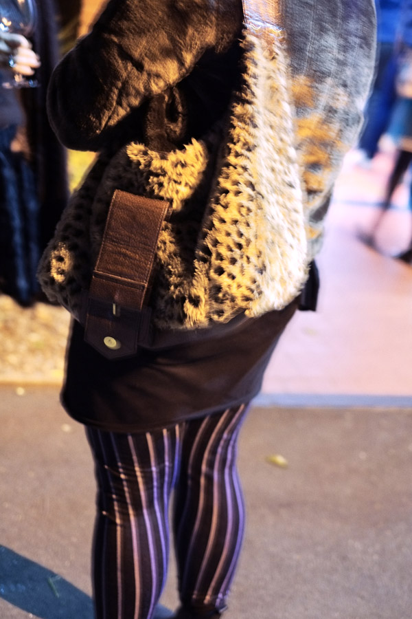 Plush Leopard Print Shoulder Bag, Striped leggings, Street Fashion Sydney.