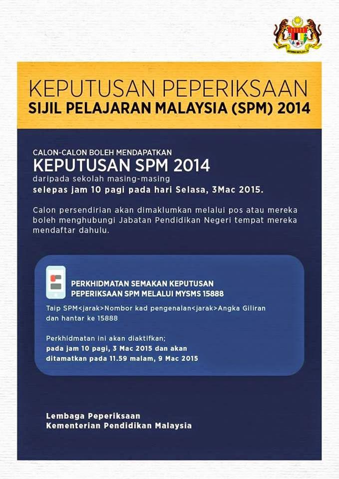 Tarikh Pengumuman Keputusan Sijil Pelajaran Malaysia (SPM) 2014