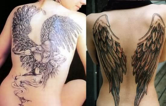 tattoo on back wings. Angel wings back tattoos for