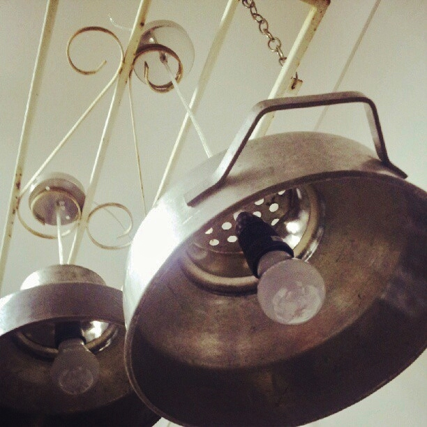 milk strainer pendant lights x 2