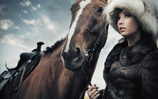 Horse and Girl with Fur Awesome Photography HD Wallpaper