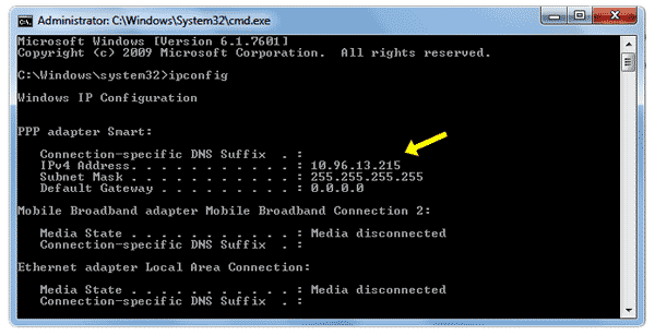 command prompt how to find ipv4 address