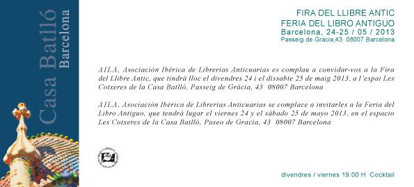 Feria del libro antiguo en casa batll barcelona 2013 uniliber com - Casa del libro barcelona passeig de gracia ...