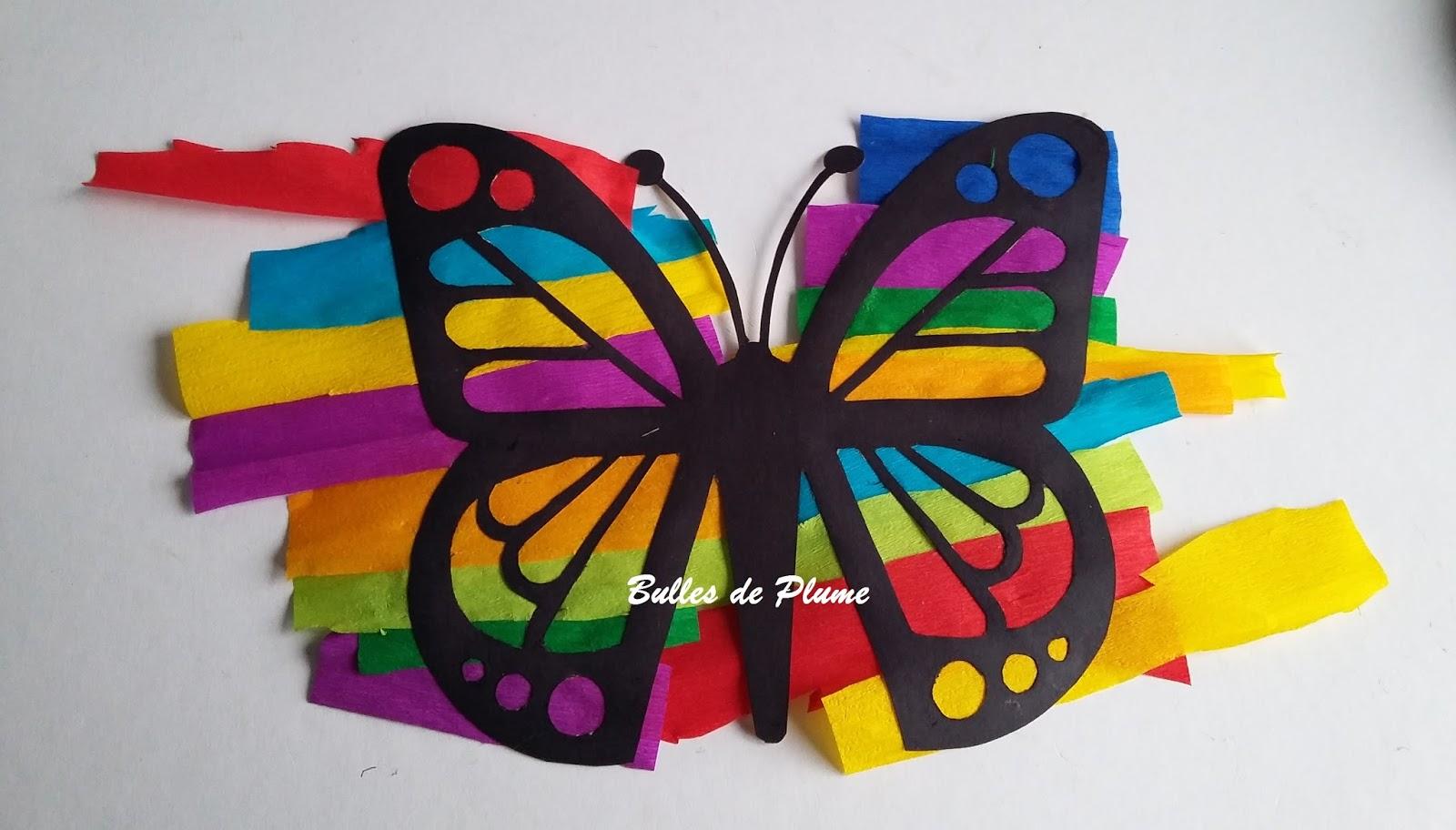 Bulles de plume diy papillon attrape soleil - Papillon en papier de soie ...