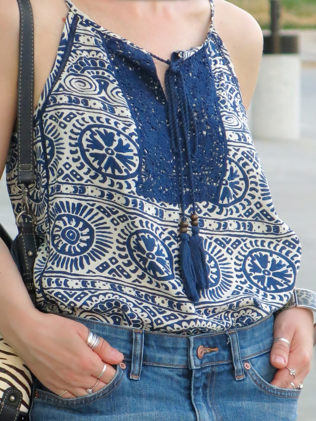 peasant-style patterned camisole