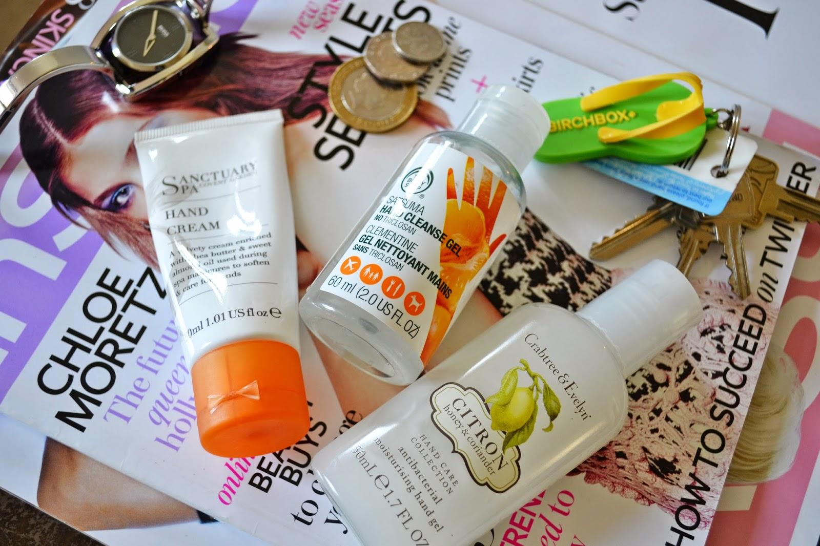 Hand Care ft Sanctuary Spa Hand Cream, Crabtree & Evelyn Antibacterial Gel, The Body Shop Hand Cleanse Gel - Aspiring Londoner