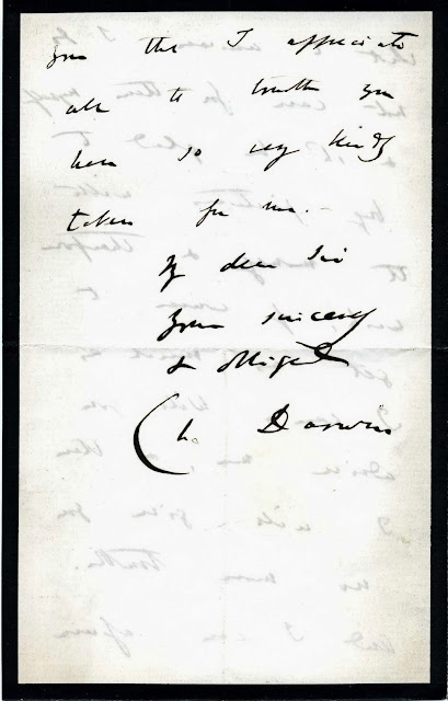 Letter from Charles Darwin to Trenham Reeks (Page 3 of 3)