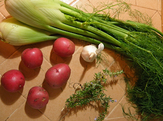 Raw Fennel, Garlic, Potatoes, and Rosemary