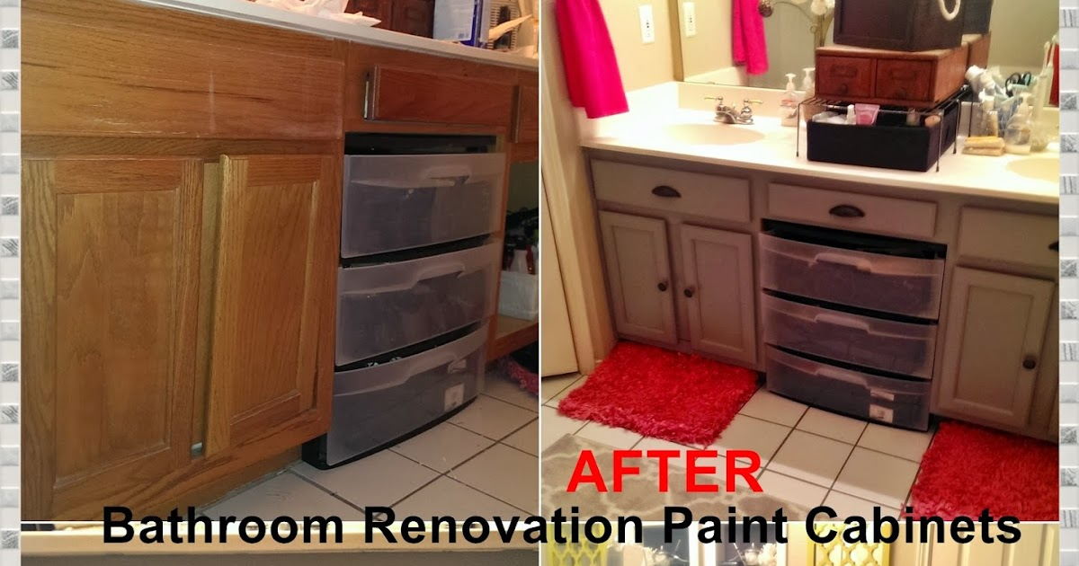 Meg made creations paint bathroom cabinets diy how to paint over stained cabinets for How do you paint bathroom cabinets