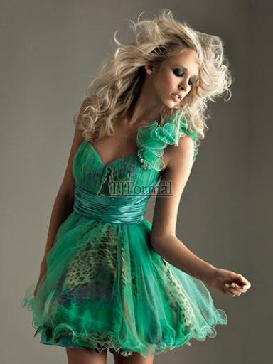 зелена бална рокля с шифон и леопардов принт