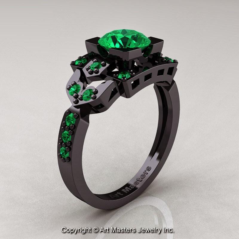 ClassicEngagementRing Blog Classic 14K Black Gold 1 0 Ct Emerald Engagem