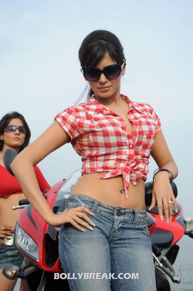 Samantha posing in blue jeans and a red and white tied up half top -  Samantha New jeans photoshoot- HOT PICS