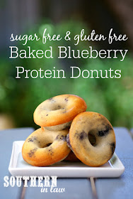 Low Carb Blueberry Protein Donuts Recipe - baked donuts recipe, sugar free, high protein, gluten free, protein powder, healthy, low fat, low calorie
