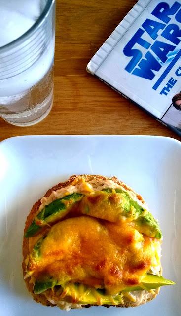 tuna melt and avocado on rye