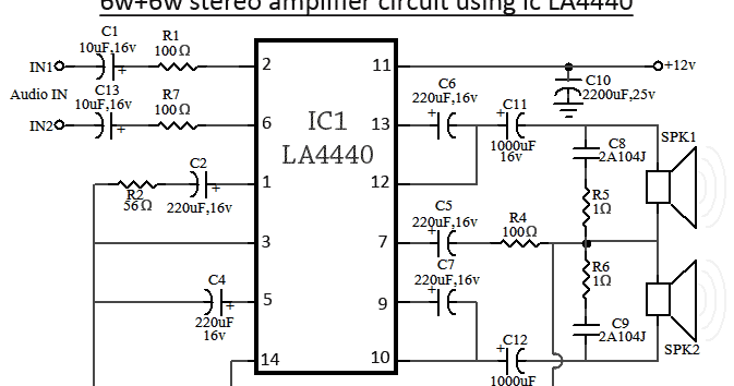 la4440 stereo amplifier circuit diagram