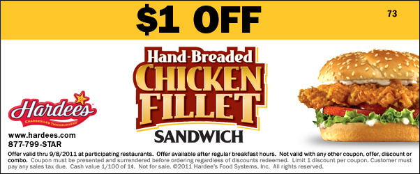 Couponing from florida to michigan off hardees hand for Hardee s fish sandwich
