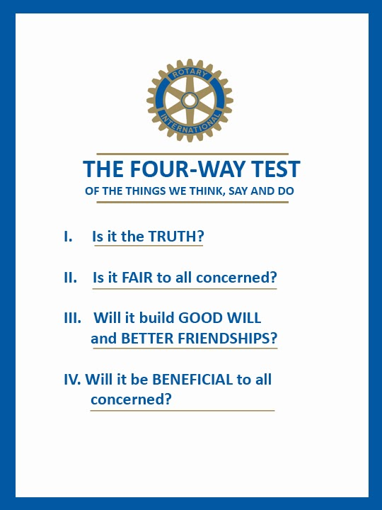 rotary club 4 way test essay The district goal is to have every club sponsor a four-way test essay contest in the seventh and eighth rotary four-way test essay contest.