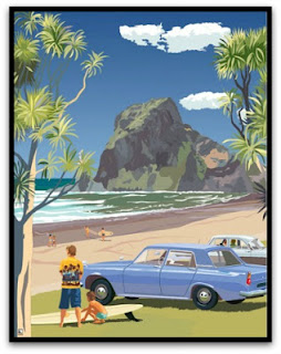 Piha, Auckland. Framed Print in Black Wooden Frame with Glass