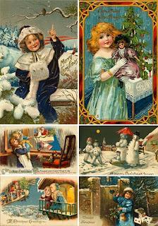 Рождественские старинные открытки