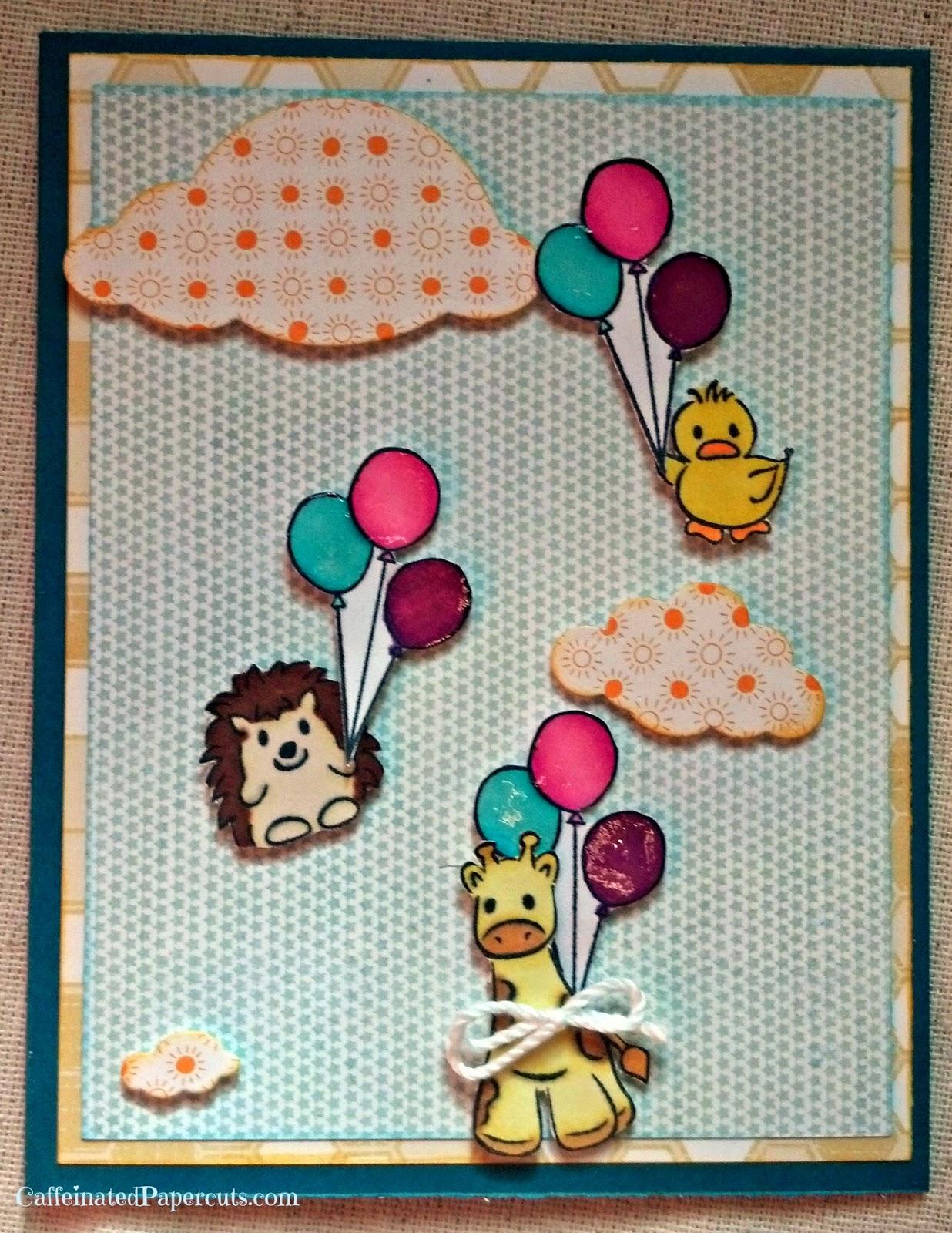 denami giraffe hedgehog duck balloons card