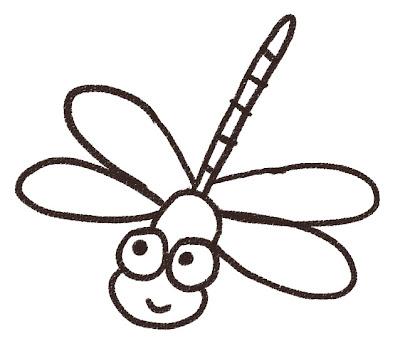 イトトンボのイラスト(虫) モノクロ線画