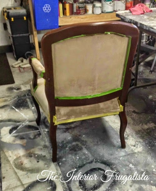 French Provincial Chair Fabric Painted - Back After Two Coats