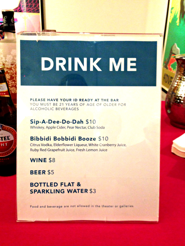 Drink Menu at Animate Your Night at The Walt Disney Family Museum | www.anyhappylittlethoughts.com