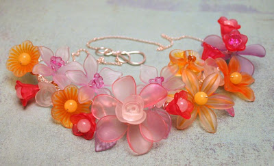 Flora: Lucite flowers, silver wire, OOAK necklace :: All Pretty Things