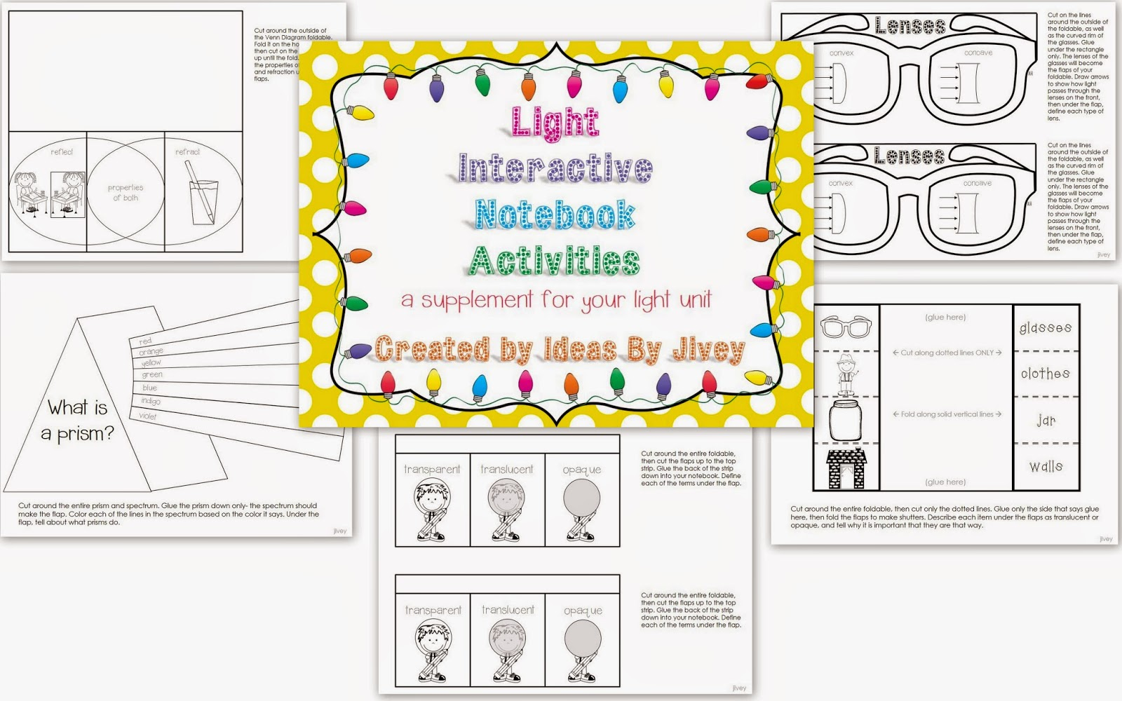 Light Interactive Notebook Activities with Ideas by Jivey