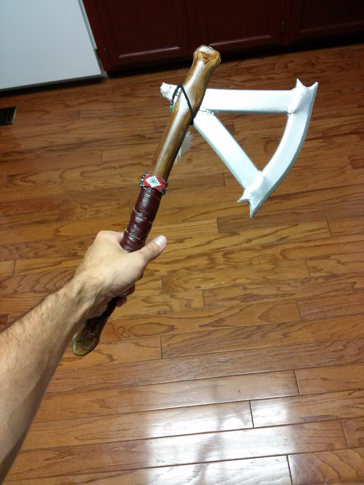 the finished ac3 connor kenway tomahawk pvc archery with golden