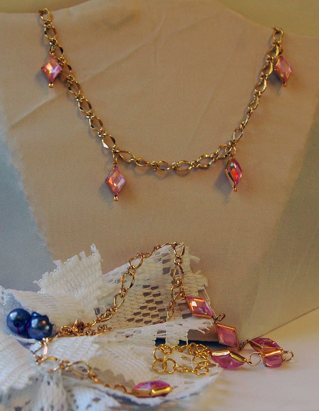Slave bracelet with pink necklace