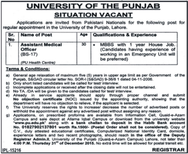 Assistant Medical Officer Jobs in University of Punjab Lahore