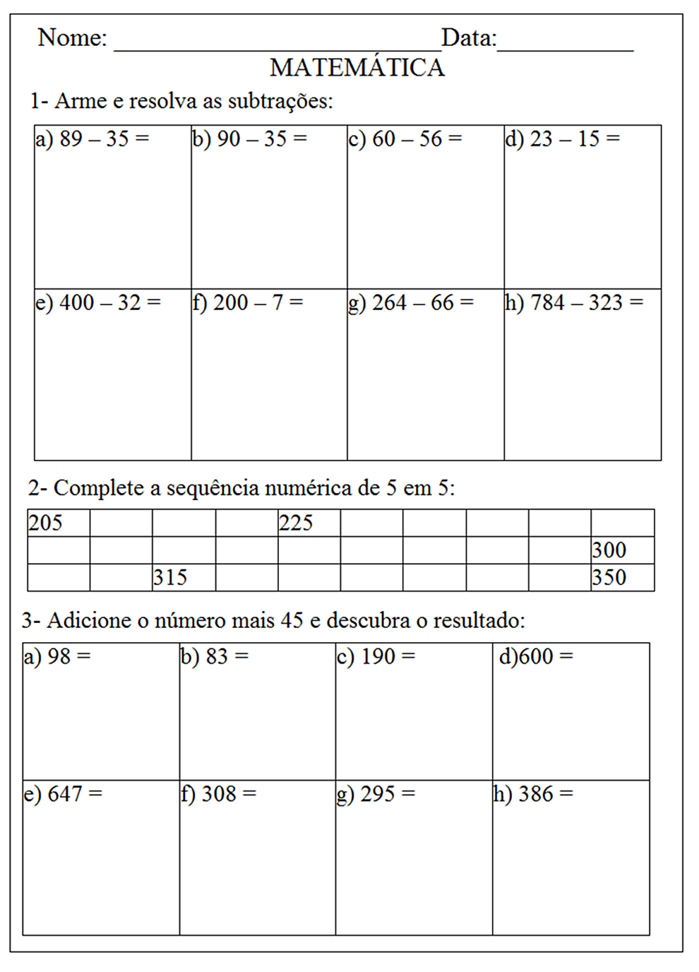 Matematica 2  3  4  5 Ano Atividades Exercicios  2