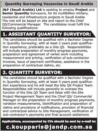 QUANTITY SURVEYING VACANCIES IN KSA VISA NOT THERE JOB IN KSA 16.01.2017