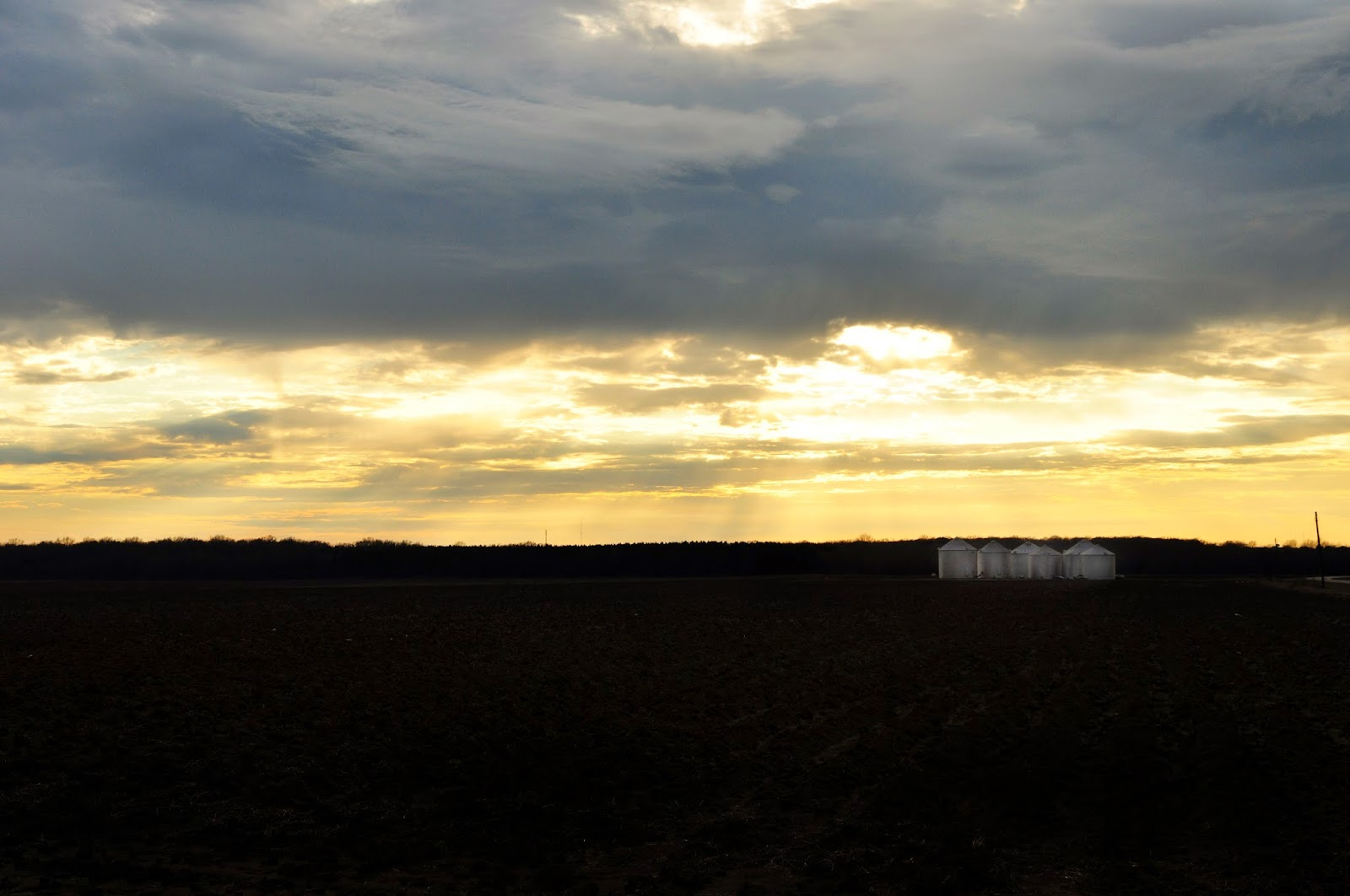grain bins December sunset Mississippi Hickory Ridge Studio