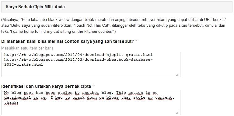 cara melaporkan blog yang copy paste ke dmca