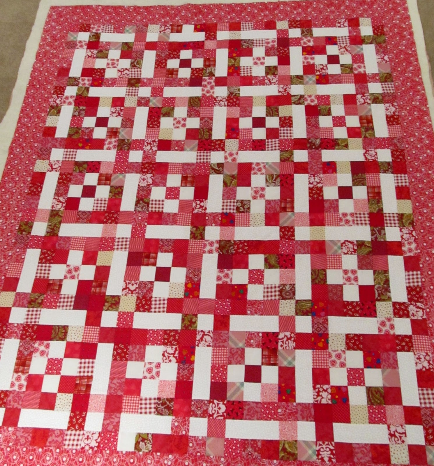 Making a red quilt