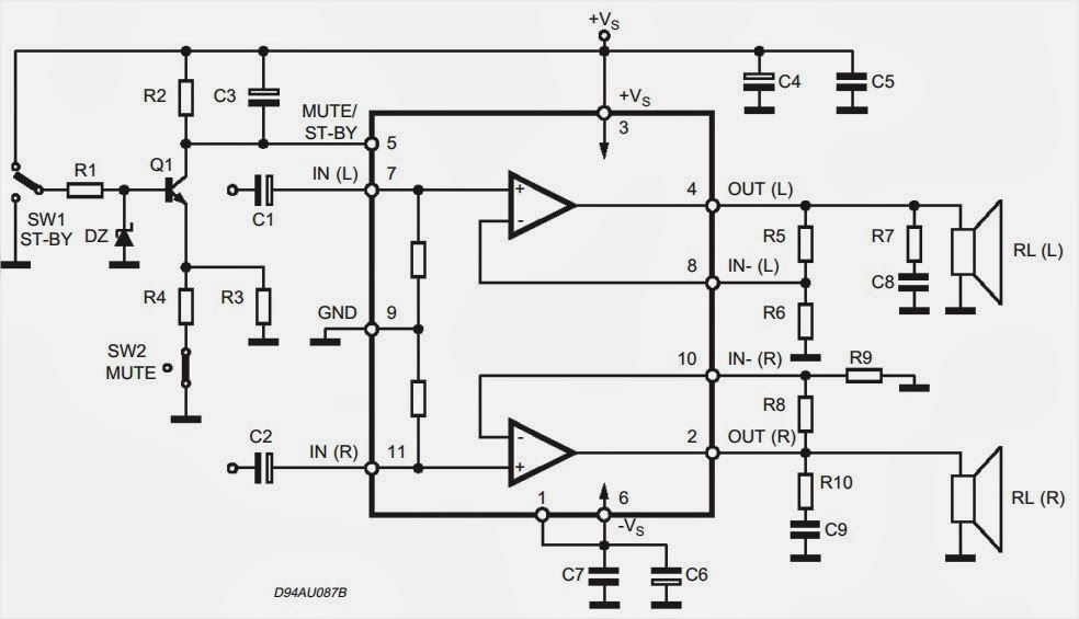 wiring  u0026 diagram info  tda7265 audio amplifier 2x25w