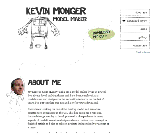 Kevin Monger - Website design using drawings and illustration