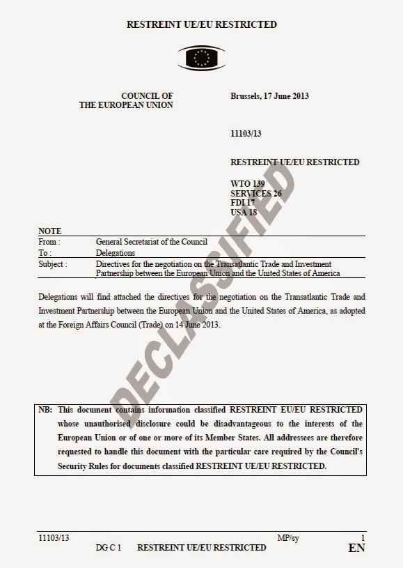 """El Consejo Europeo ha desclasificado el documento de la """"Directiva para la negociación sobre la Asociación de Comercio e Inversión transatlántica entre la Unión Europea y los Estados Unidos de América"""""""