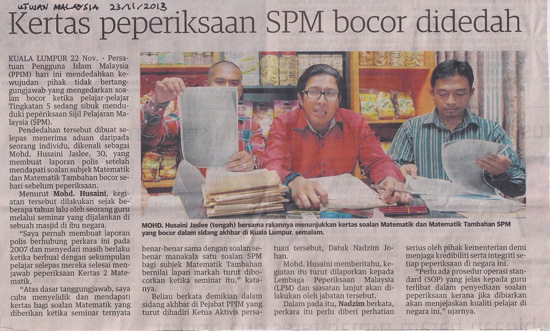 Kertas soalan SPM 2013 bocor - PPIM