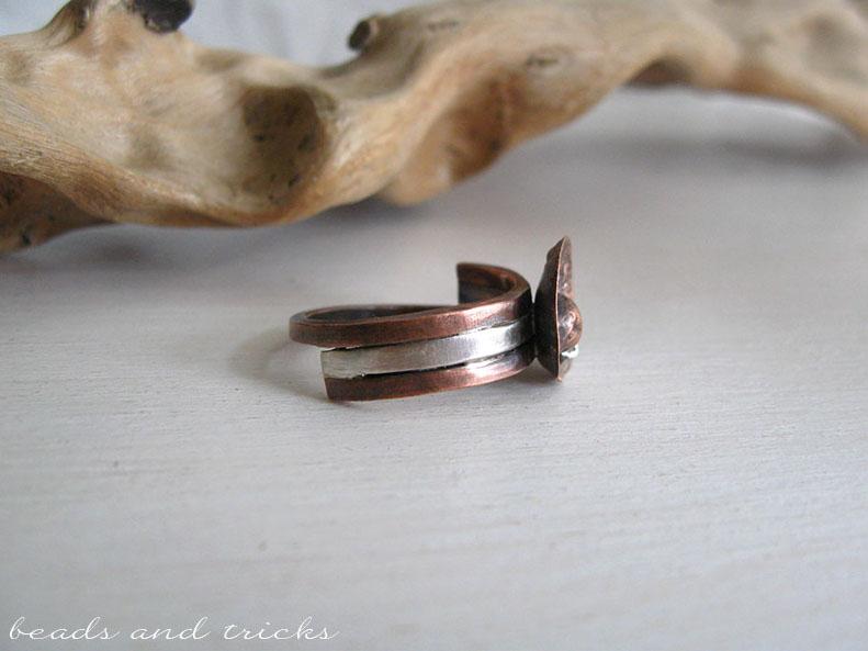 Anello in rame reticolato e fuso e argento 925
