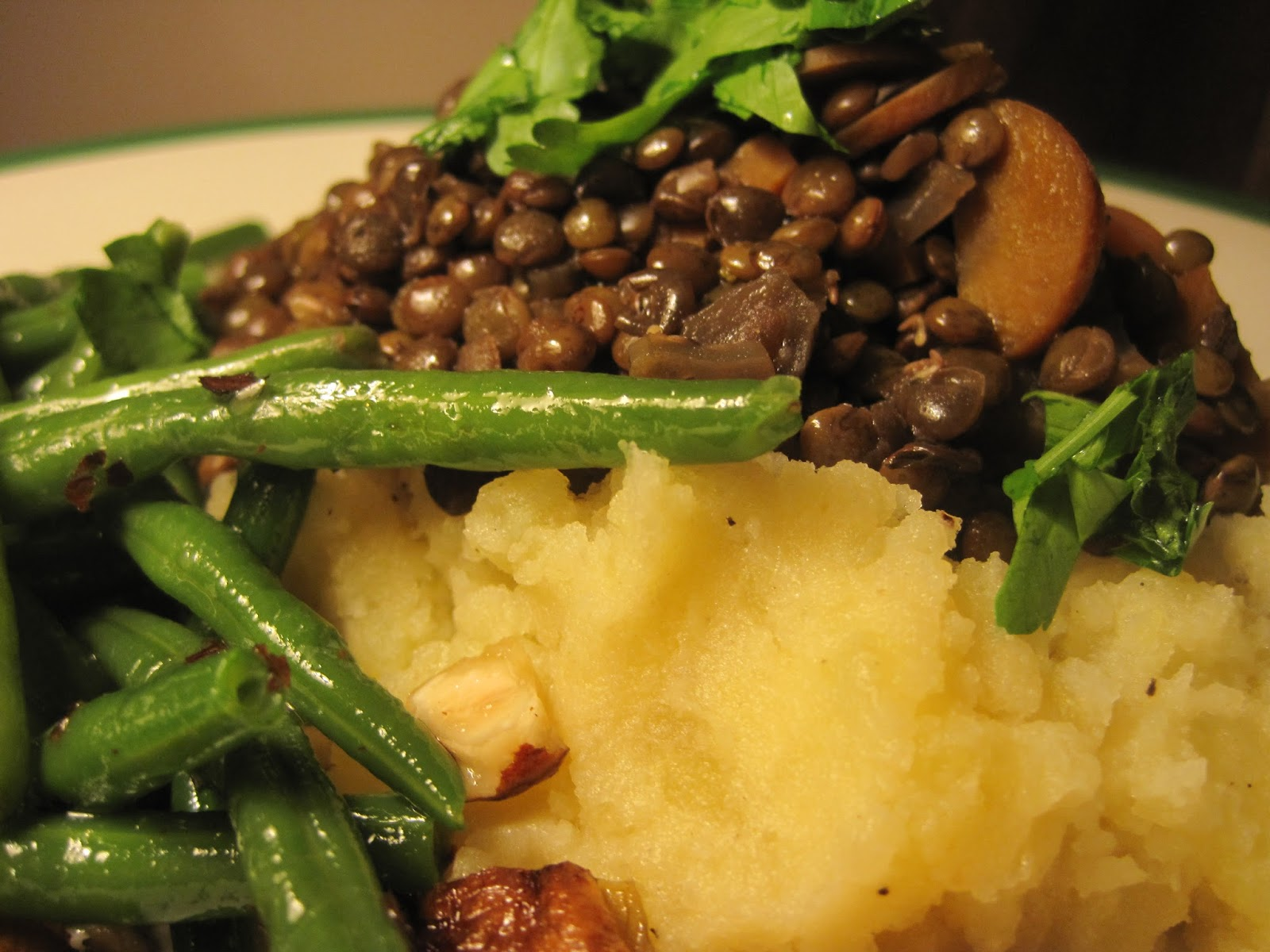 ... four - Braised Puy lentils and roasted shallots (Vegan mofo 2013 XII