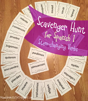Scavenger Hunt stem-changing Spanish verbs