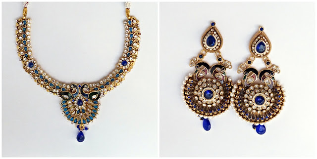 Indian ethnic peacock motif jewelry set: necklace and earrings