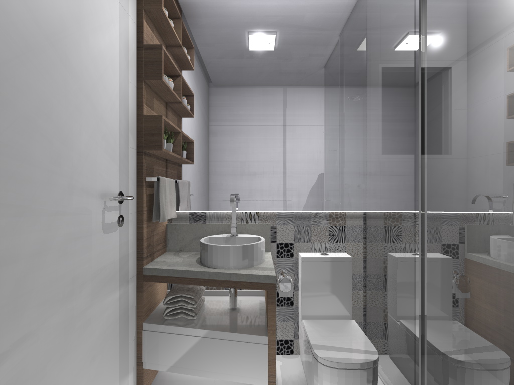 Projeto de interiores de um apartamento pequeno Banheiro. #5A5047 1024 768