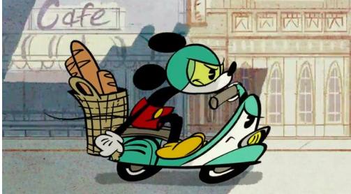 mickey mouse, mickey mouse shorts, mickey mouse short films, french bread, vespa, france, fashion blog, disneyland