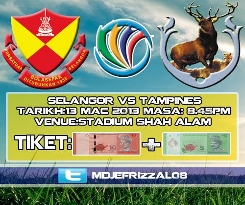 Keputusan Selangor vs Tampines Rovers 13 Mac 2013 - Piala AFC 2013