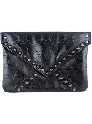 Black Skull Pattern Rivet Clutch Bag